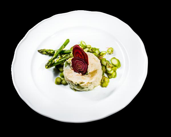 Spargelmousse mit grünem Spargelsalat