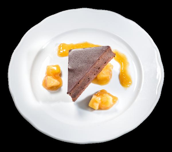 Schokoladenkuchen mit Winterapfel-Ragout