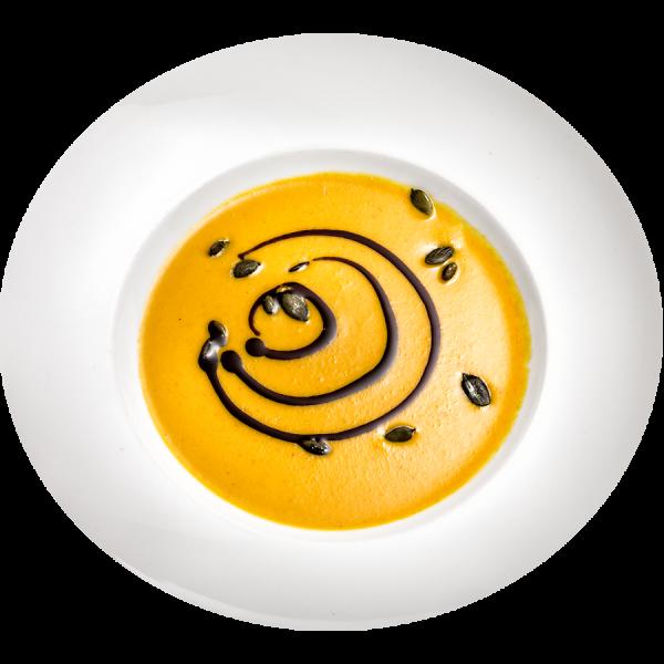 Kürbiscremesuppe mit gerösteten Kürbiskernen und Kürbisöl