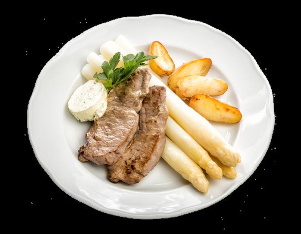 Zartes Natur-Schnitzel vom Kalb mit Stangenspargel und La Ratte Kartoffeln und einer aromatischen Kr
