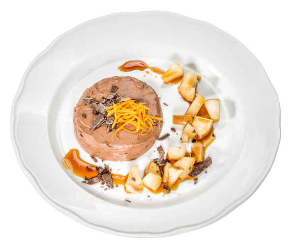 Schokoladenmousse mit Apfel-Ragout