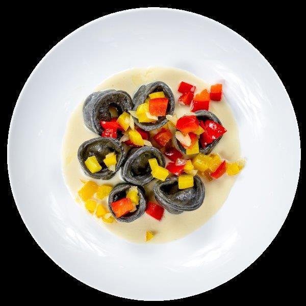 Tortellini mit Meeresfrüchtefüllung in Zitronen-Weißweinsoße