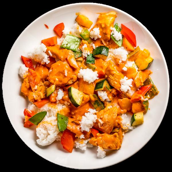 Curry - Geflügelpfännchen mit Gemüse und Duftreis